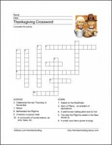 Thanksgiving Crossword