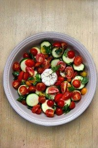 Roasted Tomatoes & Zucchini with Basil & Garlic