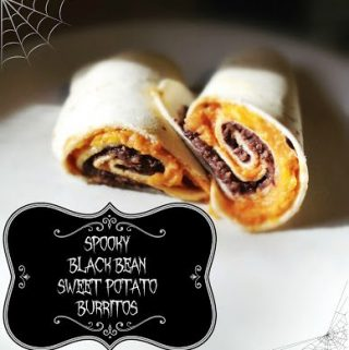 Spooky Black Bean and Sweet Potato Burritos