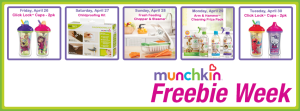 free munchkin products on april 26 to april 30 at 9 pst