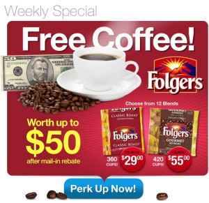 perk up with folgers and get in free coffee