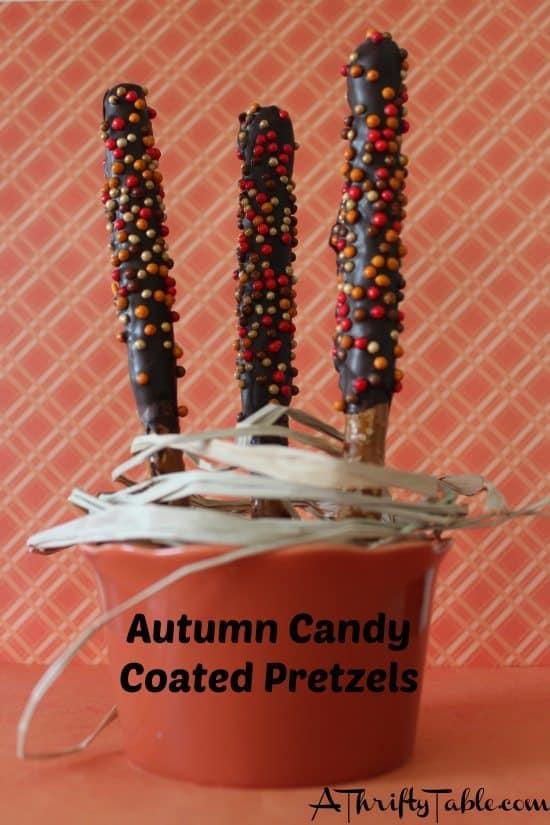 Autumn Candy Coated Pretzels