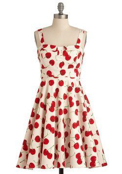 Pull Up a Cherry Dress in White from ModCloth