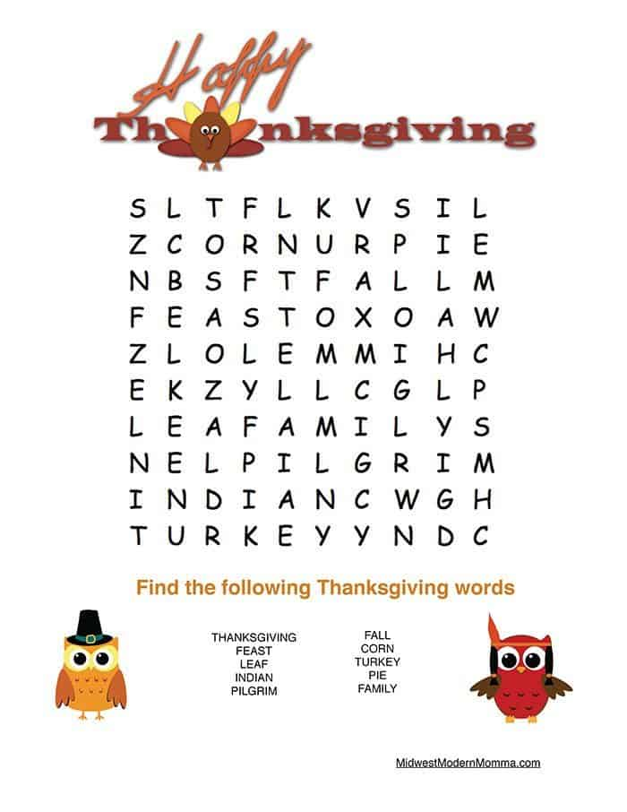 Free Thanksgiving Word Search Printable for Preschoolers