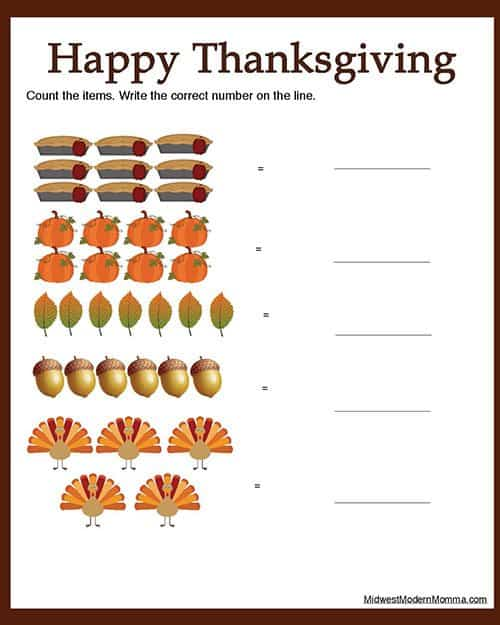 Counting 6 to 10 Free Thanksgiving Printable Worksheet