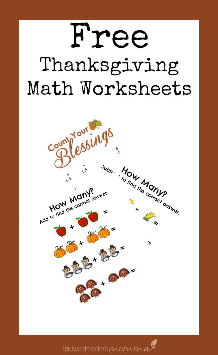 Free Thanksgiving Addition & Subtractions Worksheets