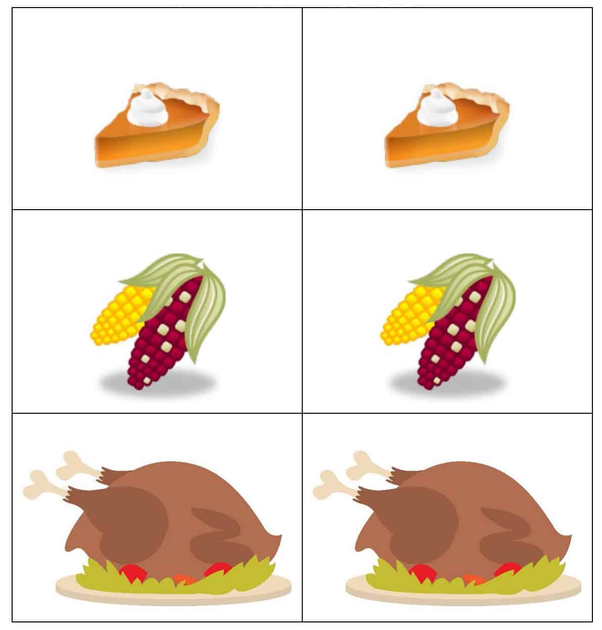 Free Thanksgiving Matching Game Printable