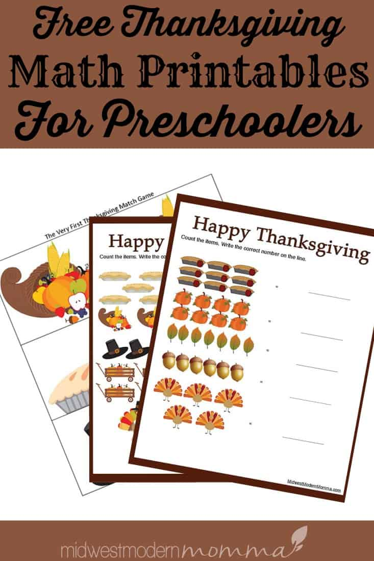 Free Thanksgiving Math Worksheets for Preschoolers