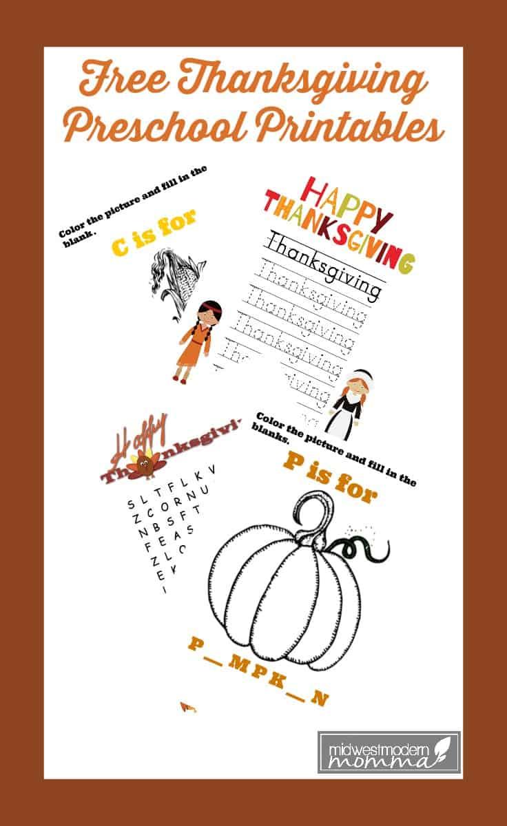 Free Thanksgiving Preschool Language Printables