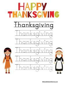 Thanksgiving Handwriting Free Printable