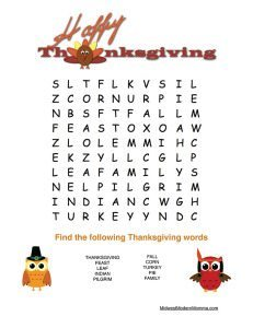 Thanksgiving Word Search Preschoolers