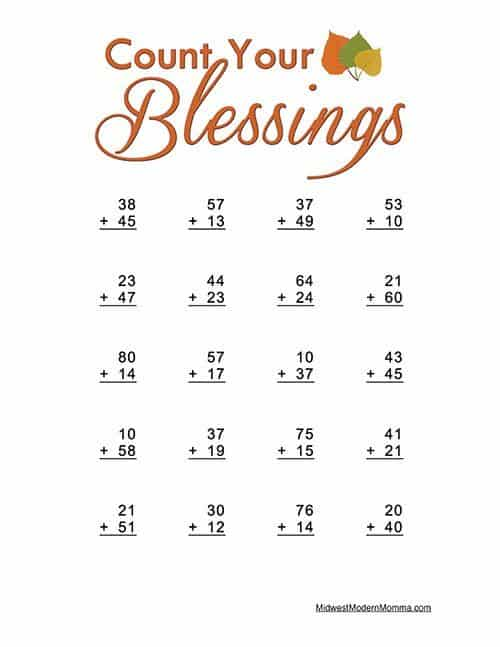 Thanksgiving Math Worksheets: Double Digit Addition
