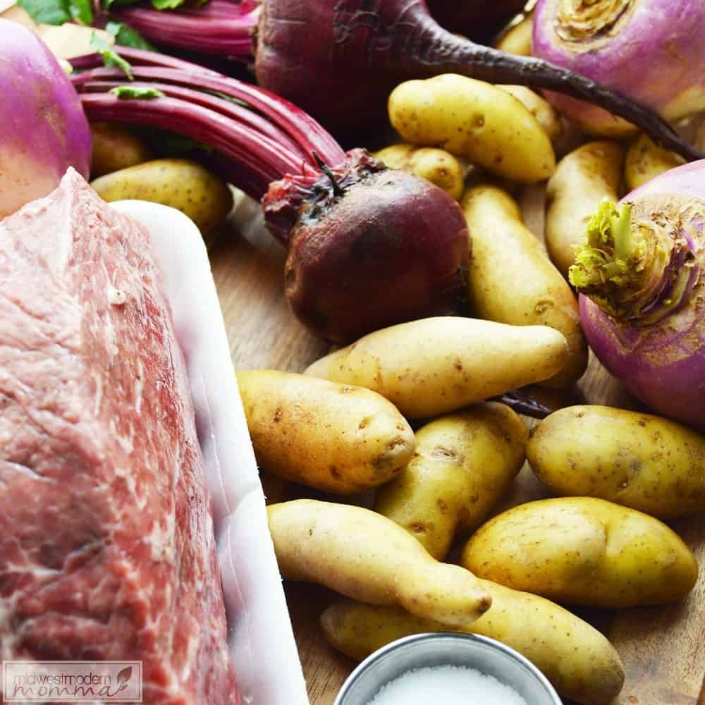 This Paleo Turnip & Beet Roast is an easy freezer friendly meal to prep in advance for a busy day. Freezer cooking is a great way to provide healthy meals for your family & this one will quickly become a family favorite!