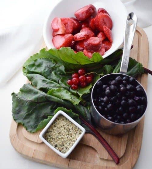 Beet Green & Berry Smoothie Ingredients
