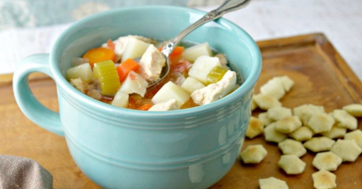 Slow Cooker Chicken Stew with Oyster Crackers