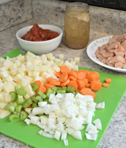 Cut Veggies for Slow Cooker Chicken Stew