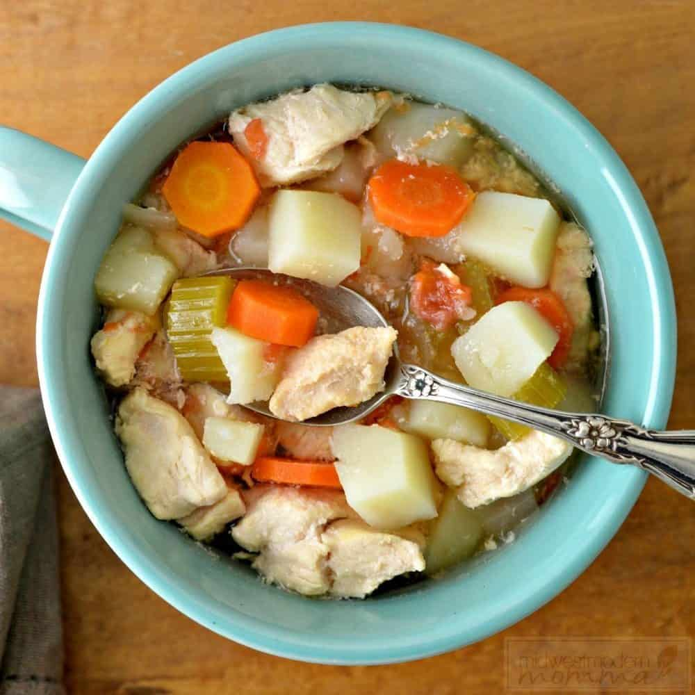 This healthy Paleo Chicken Soup will have your family raving and only takes about 15 minutes to throw together! Come home to a warm, delicious meal!