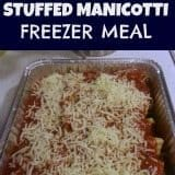 Stuffed Manicotti is one of my favorite recipes because it serves our whole family. This is also a great meal to have in the freezer for sudden company.