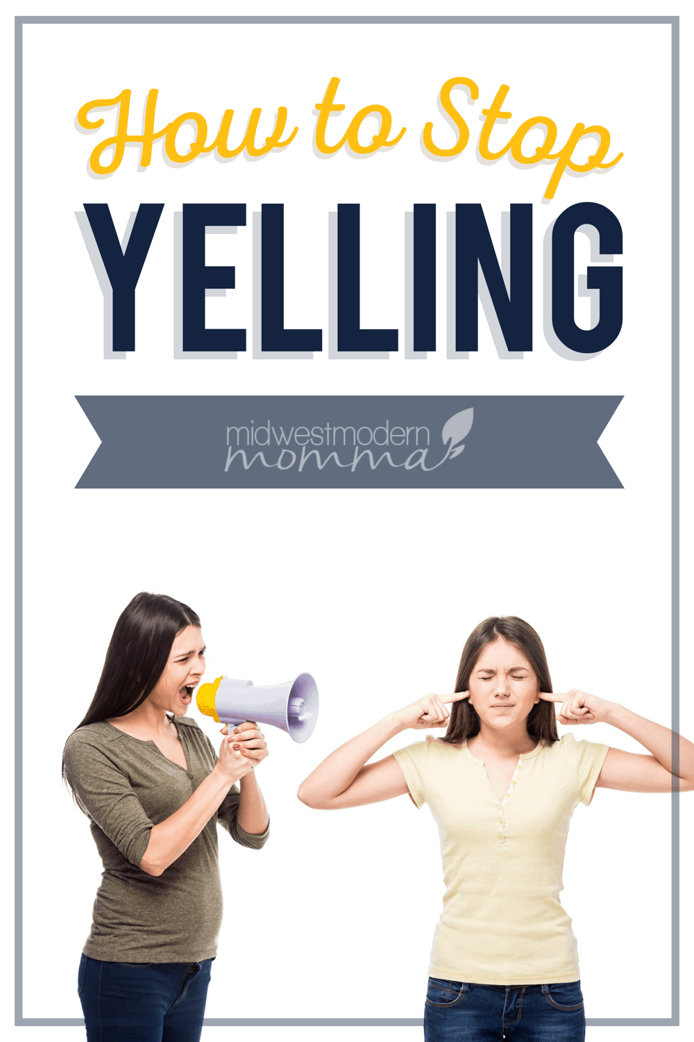 Are you struggling with figuring out how to control your anger? Yelling sometimes seems to come with the territory of parenting. Yelling isn't something a parent means to do, it's just something that happens when you're overwhelmed or frustrated.