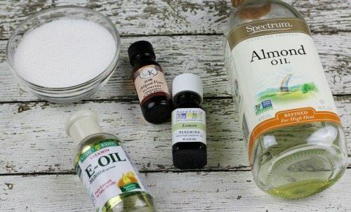Ingredients for DIY Lemon Raspberry Lip Scrub