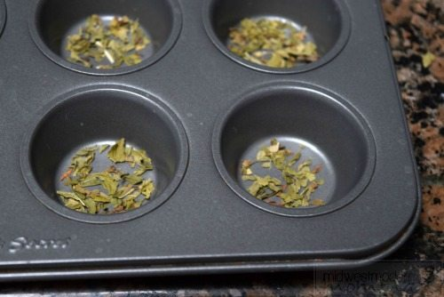 Homemade Spearmint Bath Bombs using muffin pans