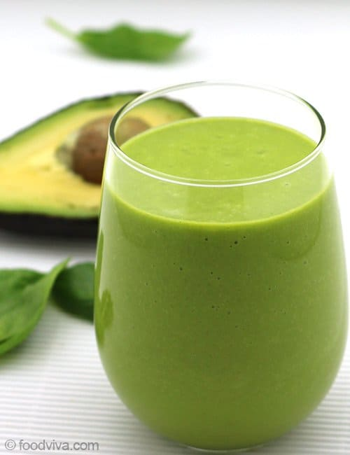 Avocado Smoothie with Almond Milk, Spinach and Orange