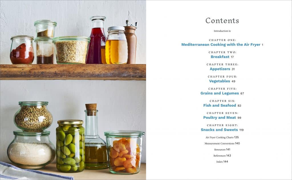 Table of contents page from air fryer cookbook